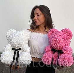 Мишка 40 см с коробкой из 3D фоамирановых роз Teddy de Luxe / искусственных цветов 3д, пенопласт Тедди белый