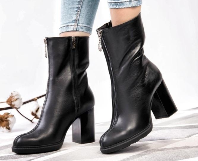 Высокие ботинки, ботильоны женские кожа на байке демисезонные черные