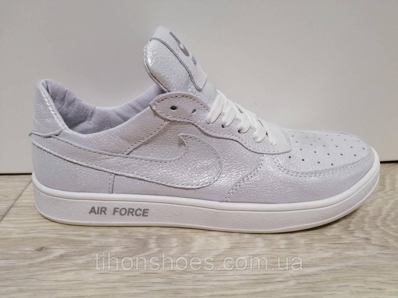 1a37fc68 Кроссовки Женские Найк Блестящие Белые Кожаные Повседневные Nike — в ...