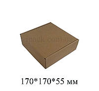 Коробка картонная самосборная, 170*170*55, мм, бурая, крафт, микрогофрокартон