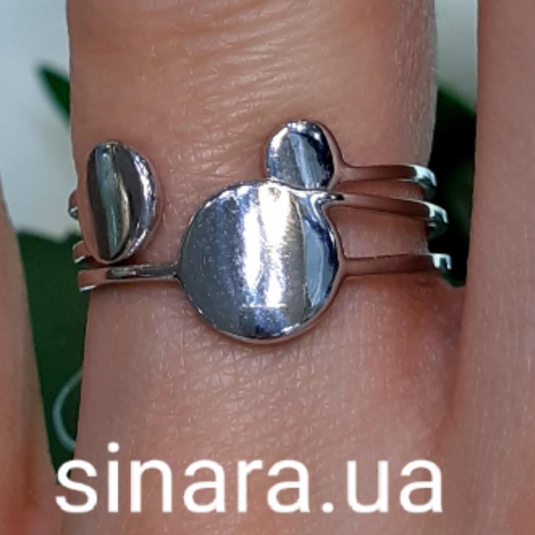 Серебряное родированное кольцо без камней Balls