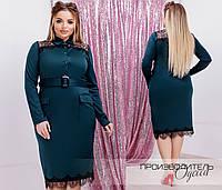 Трикотажное платье Батал Поясок, фото 1