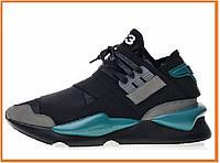 Мужские кроссовки Y-3 Qasa x Kaiwa Chunky black blue (адидас еши ямамото 3, черные / синие)