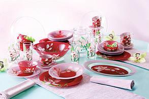 Сервиз столовый красный на 6 персон Luminarc (Люминарк) Red Orchis 46 пр (N4828), фото 2