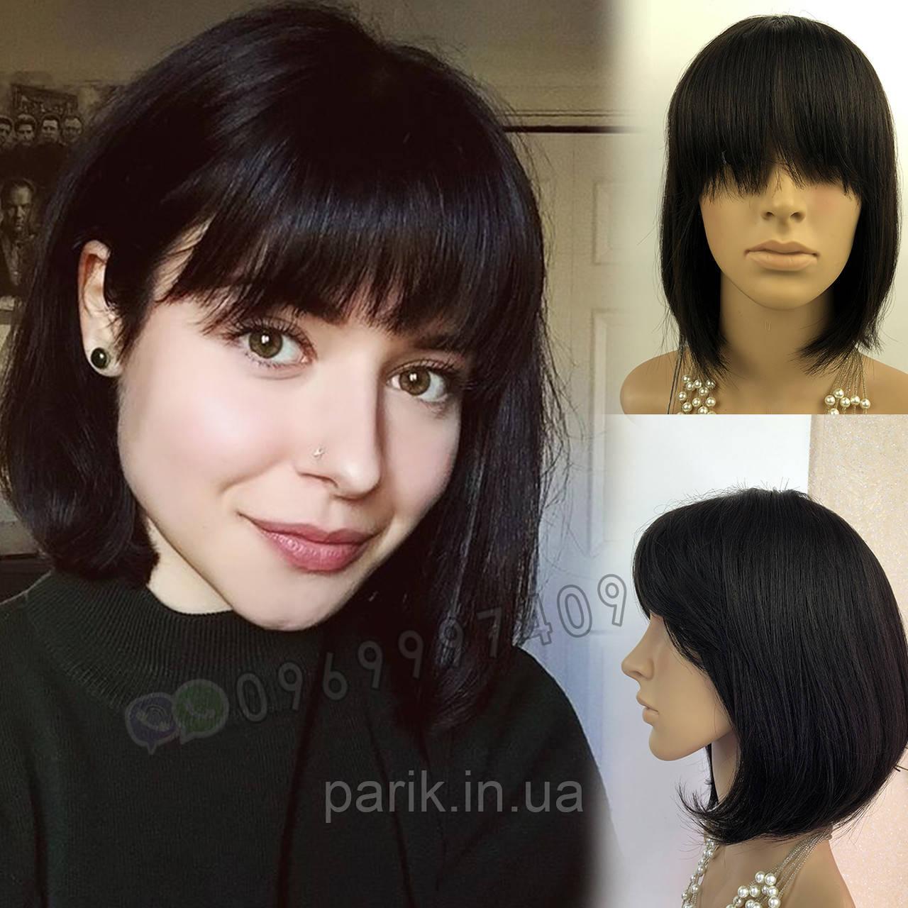 💎 Парик женский каре чёрный, из натуральных волос с чёлкой 💎