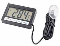 Термометр электронный с внутренним и выносным внешним датчиком температуры  и часами
