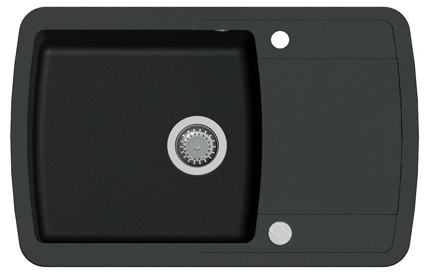 Гранитная кухонная мойка  Aquasanitа Lira SQL 101 (601 черный металлик)