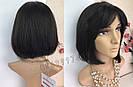 💎 Парик женский каре чёрный, из натуральных волос с чёлкой 💎, фото 4
