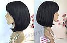 💎 Парик женский каре чёрный, из натуральных волос с чёлкой 💎, фото 6