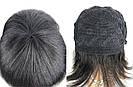 💎 Парик женский каре чёрный, из натуральных волос с чёлкой 💎, фото 9
