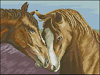 Набор для вышивания крестиком Пара лошадей. Размер: 25,5*19 см