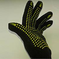Перчатки рабочие черные с ПВХ