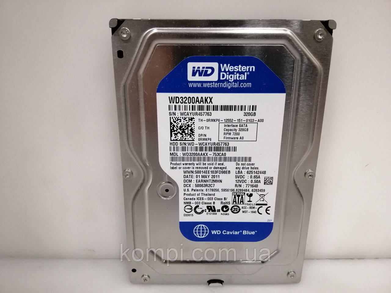HDD Жорсткий диск Western Digital Caviar Blue 320GB 7200rpm 16MB 3.5 SATA III для ПК ІДЕАЛЬНИЙ СТАН