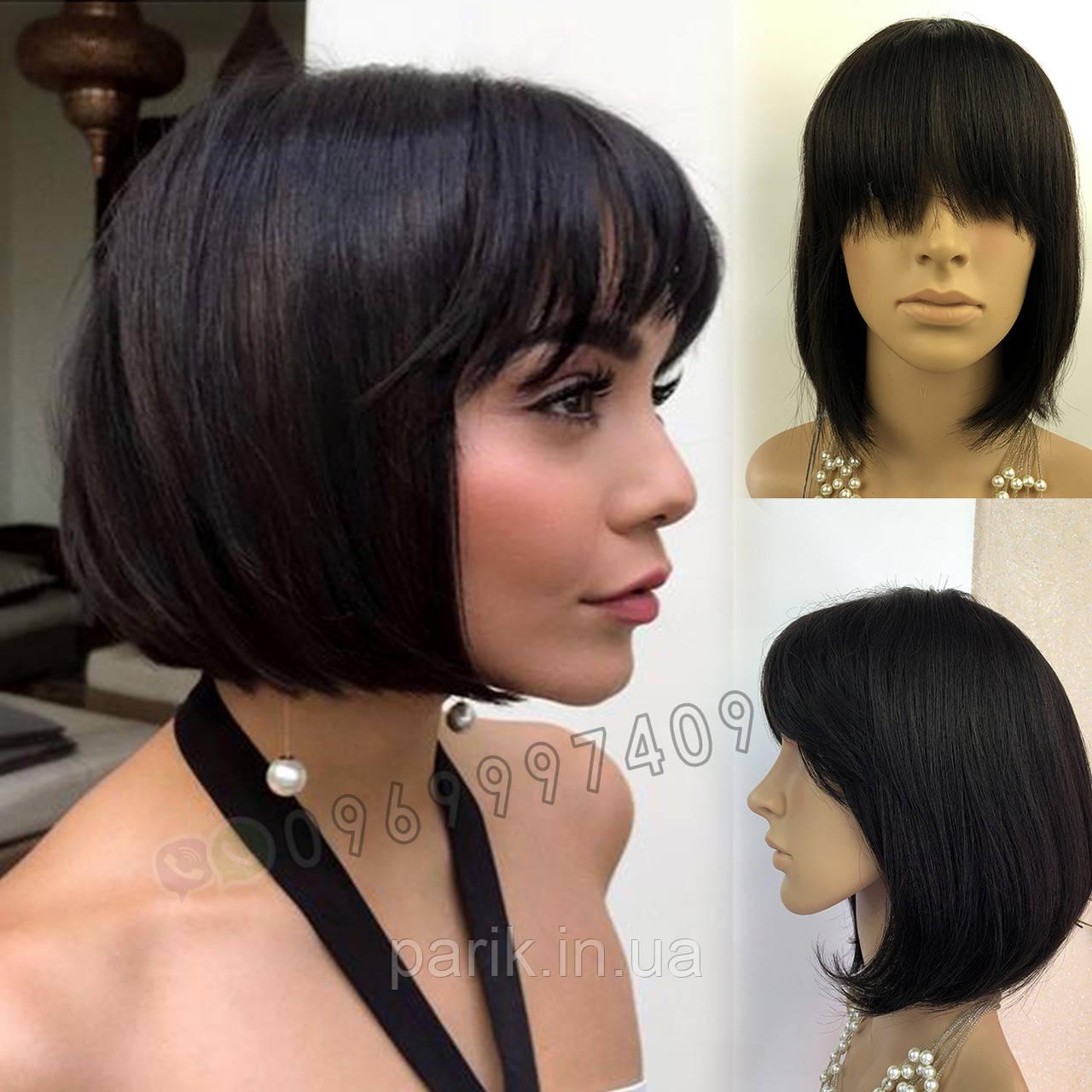 💎 Натуральный парик каре с чёлкой, без имитации 💎