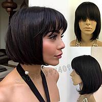 💎 Натуральный парик каре с чёлкой, без имитации 💎 из натуральных волос