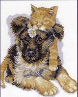 Набор для вышивания крестиком Щенок и котенок. Размер: 19*21,6 см