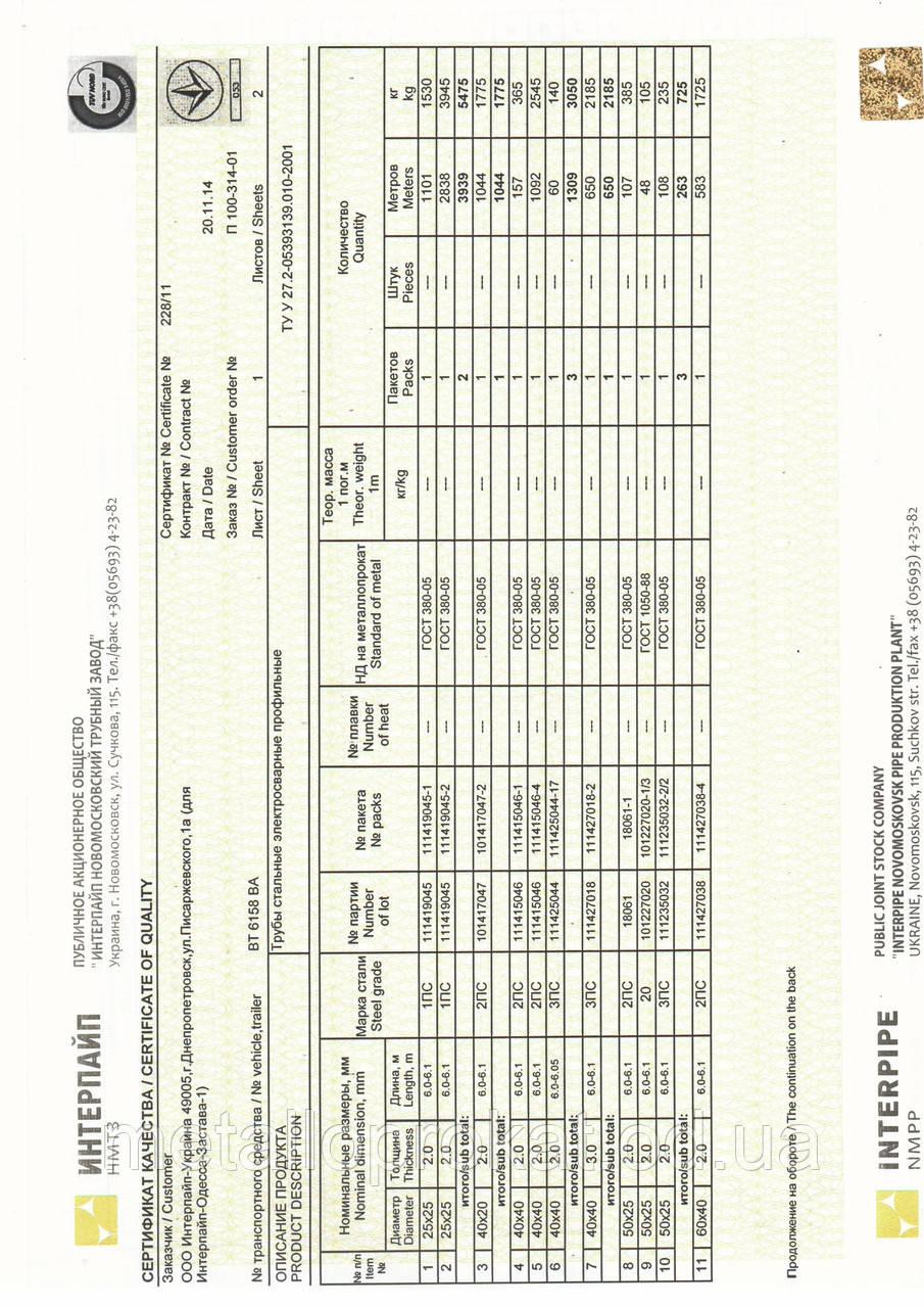 Сертификат труба 25х25