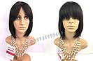 💎 Женский парик каре из натуральных волос, чёрный с чёлкой 💎, фото 3