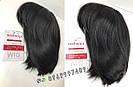 💎 Женский парик каре из натуральных волос, чёрный с чёлкой 💎, фото 4