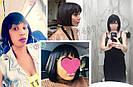 💎Женский парик каре из натуральных волос, чёрный с чёлкой, фото 9