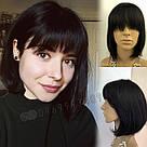💎 Женский парик каре из натуральных волос, чёрный с чёлкой 💎, фото 10