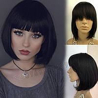 💎 Женский парик каре из натурального волоса, чёрный с чёлкой 💎