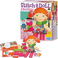 Детский набор для шитья 4M Кукла с котенком (00-02766)