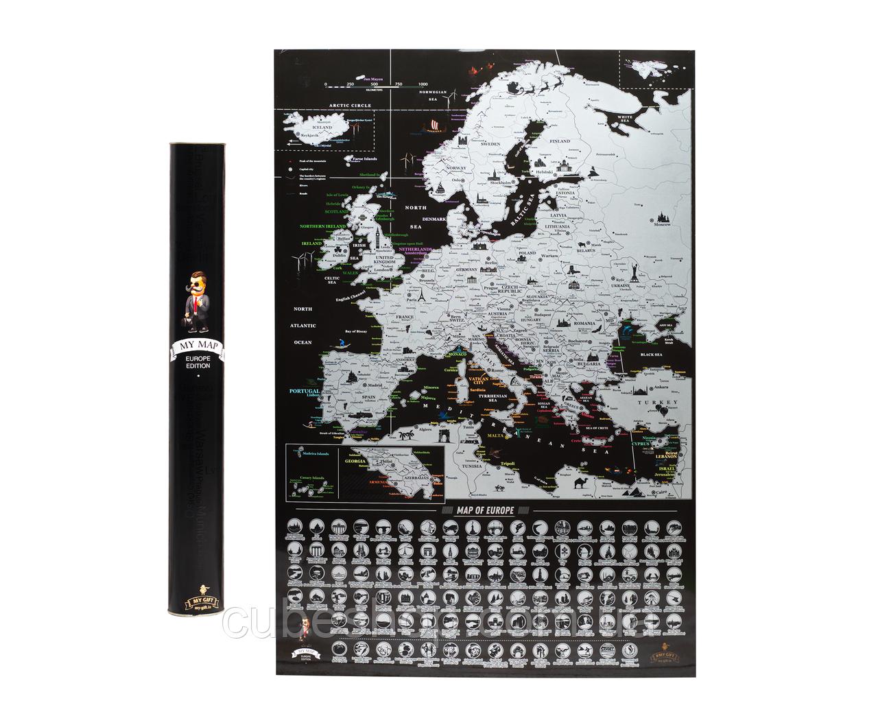 Скретч карта Европы My Map Europe edition (английский язык) в тубусе