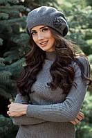 "Тёплый зимний берет ""Гербера"" - 5057 тёмно-серый меланж"