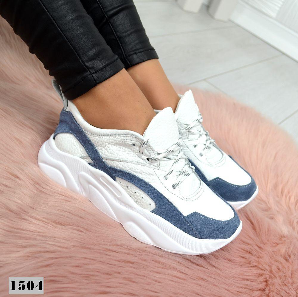 Женские  кожанные кроссовки белые с синим