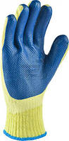 Перчатки трикотажные с латексным покрытием, двойной облив, синие, р. 10