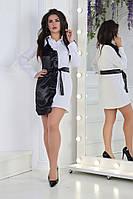 Рубашка женская удлененная с атласной вставкой (К26299), фото 1