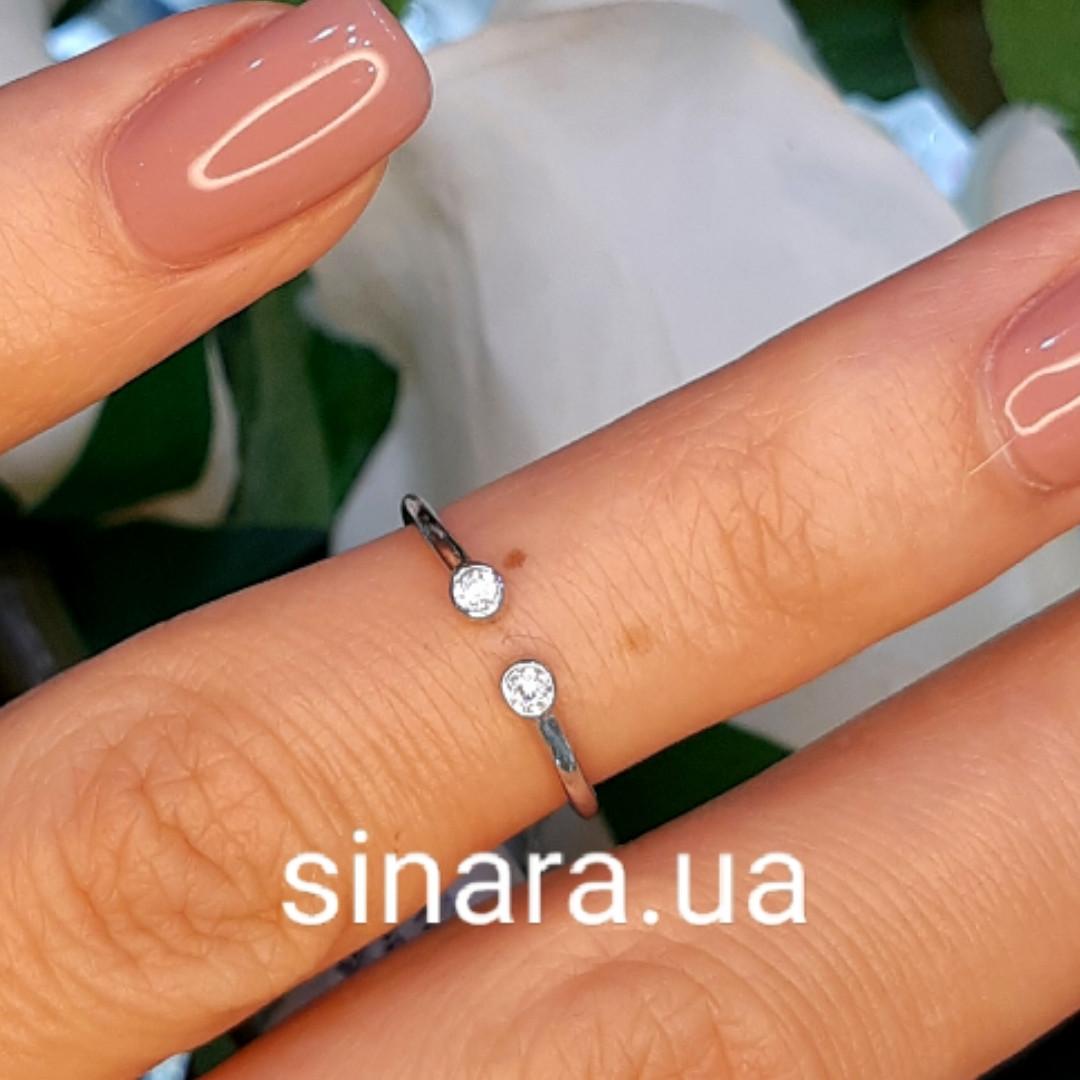 Фаланговое кольцо серебро родированное - Минималистичное кольцо на фалангу серебряное