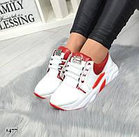 Женские  кожанные кроссовки белые с красным, фото 1