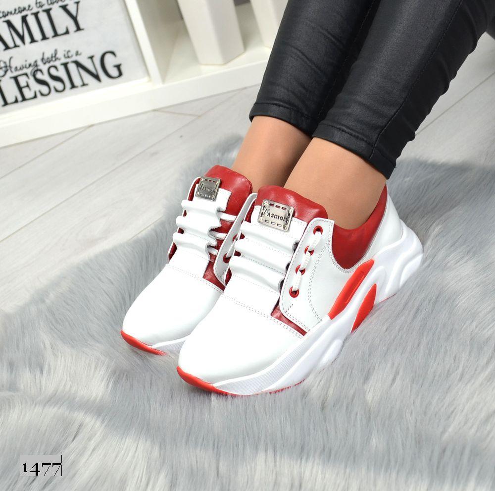 Женские  кожанные кроссовки белые с красным