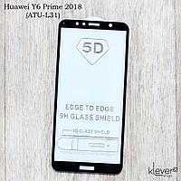 Защитное стекло Full Glue для Huawei Y6 Prime 2018 (ATU-L31) (black) (клеится всей поверхностью (5D))