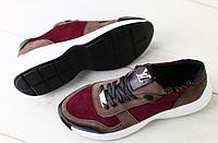 Кроссовки в стиле Louis Vuitton бордовые с коричневым, фото 1