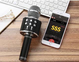 Беспроводной караоке микрофон с динамиком  Bluetooth USB WS 858 черный
