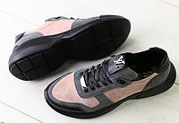 Кроссовки в стиле Louis Vuitton бежевые с серым и черным, фото 1