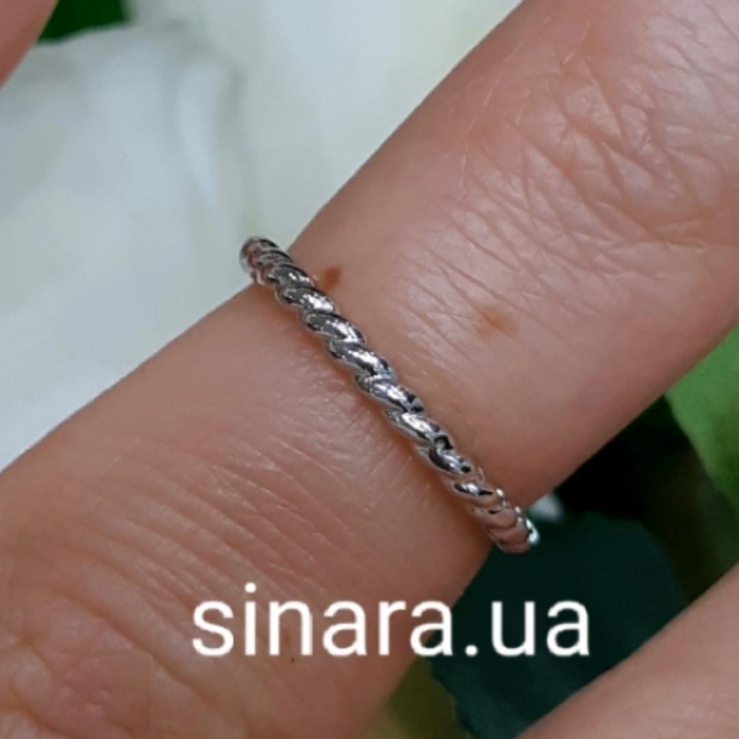 Серебряное кольцо на фалангу Косичка - Кольцо на фалангу минималистичное серебро