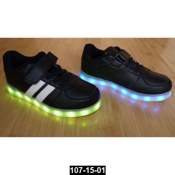 Светящиеся кроссовки, 30 размер (20 см) (20 см), 11 режимов LED подсветки, зарядка от USB кабеля