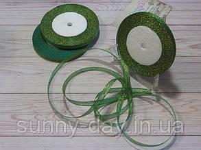 Лента парча, 6мм (22метра), цвет - зеленый