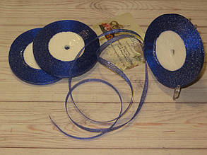 Лента парча, 6мм (22метра), цвет - синий