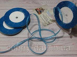 Лента парча, 6мм (22метра), цвет - голубой яркий