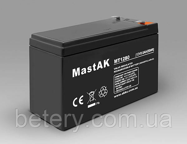 Аккумулятор MastAK MT1280 ( 12v 8Ah )