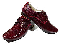 """Туфли женские комфорт натуральная лаковая кожа """"рептилия"""" бордовые на шнуровке (42)"""