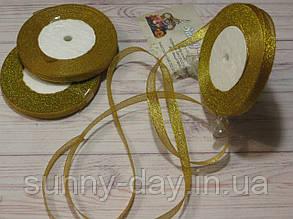 Лента парча, 10мм (22метра), цвет - желтый