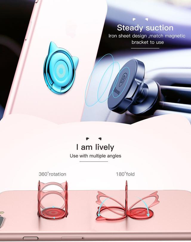 Металлическое кольцо-держатель для смартфона Cat Черное Серебристое Розовое Золотистое