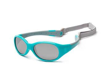 Детские солнцезащитные очки Koolsun KS-FLAG003 бирюзово-серые