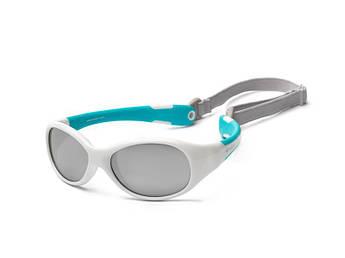 Детские солнцезащитные очки Koolsun KS-FLWA000 бело-бирюзовые